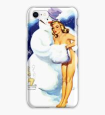 Lucky Snowman is hugging sexy pin up blond girl iPhone Case/Skin