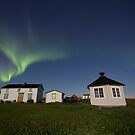 Northern lights above the house by Frank Olsen