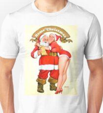 Pin up blond girl is hugging Santa Claus, vintage holiday greeting card T-Shirt