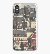 Red House in Winter...Charming Village Scene.  iPhone Case
