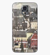 Red House in Winter...Charming Village Scene.  Case/Skin for Samsung Galaxy