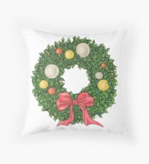 Original, Red Ribbon Wreath Throw Pillow