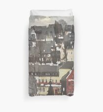 Red House in Winter...Charming Village Scene.  Duvet Cover