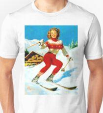 Pin up blond girl on ski T-Shirt