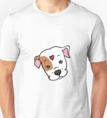 Brown/White Sweet Pit Bull Face with Heart T-Shirt