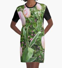 Pink Tulips Graphic T-Shirt Dress