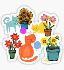Three Curious Cats Sticker