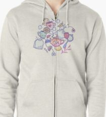 Tea and Cookies Doodle Art Zipped Hoodie