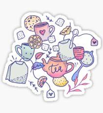 Tea and Cookies Doodle Art Sticker