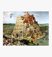 The Tower of Babel by Pieter Bruegel fine art print faithfully restored to it's original beauty. Peter Bruegel, Pieter Bruegel the Elder. Photographic Print