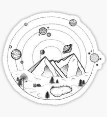 Planets in Forest Scene Sticker