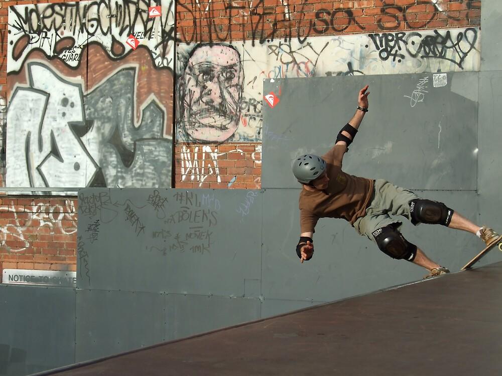 Rock to Fakie at prahran skate park by Jean-Rene  Vauzelle
