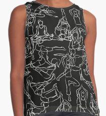 Yoga Asanas Pattern - white chalk Contrast Tank
