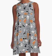 Retro Trick or Treat - Grey - Halloween pattern by Cecca Designs A-Line Dress