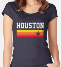 Houston Baseball Throwback Astro Vintage Stripes Women's Fitted Scoop T-Shirt