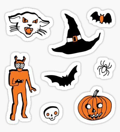 Retro Trick or Treat - Grey - Halloween pattern by Cecca Designs Sticker