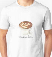 thanks a latte watercolor coffee pun T-Shirt