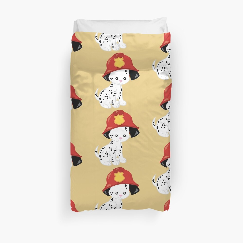Spotted coat Dalmatian fire dog  Duvet Cover