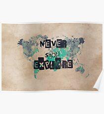 world map 118 never stop explore #map #worldmap Poster