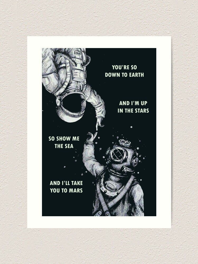 Alternate view of Astronaut and Diver - I'm Up in The Stars Art Print