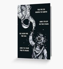 Astronaut and Diver - I'm Up in The Stars Poster Greeting Card