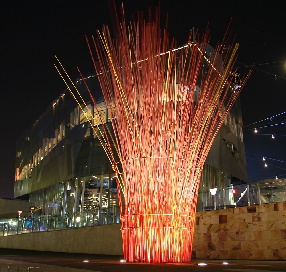 Federation Square fire by Lambros