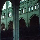 Arches beside Nave Cathedral Amiens France 19840821 0023  by Fred Mitchell