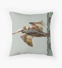 Brown Pelican Flight with Vintage Seafoam Stripe (California Bird) Throw Pillow