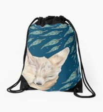 Fennec Fox Feather Dreams in Turquoise Drawstring Bag