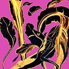 Golden Succulent on Fuchsia  by ANoelleJay