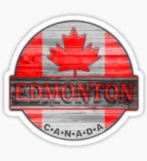 Edmonton Canada red wood flag Sticker