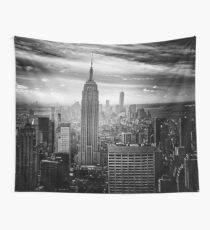 Empire State Building Black And White Wall Tapestry
