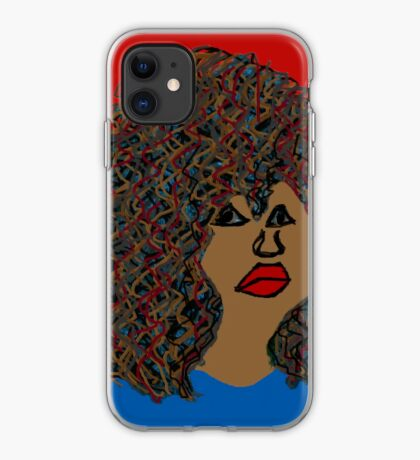 Natural Hair Curly Afro Wavy Curls Red Lips Queen iPhone Case