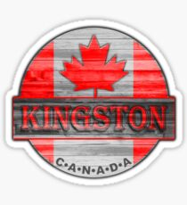 Kingston Canada red wood flag Sticker