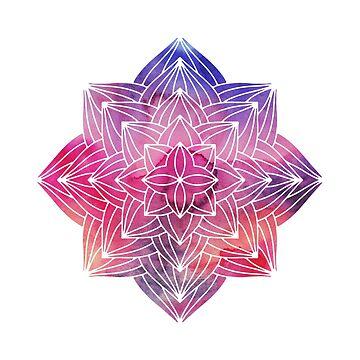 Purple Watercolour Mandala by lenorelocken
