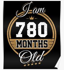 Funny Vintage 65th Birthday I'm 780 Months Old Gift Poster