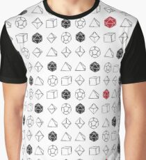White Dungeons and Dragons Dice Set D20 Pattern Graphic T-Shirt