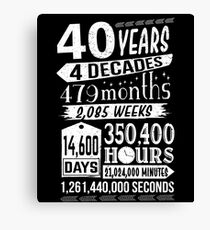 Funny 40th Birthday Forty Year Old Sign Gag Gift Canvas Print