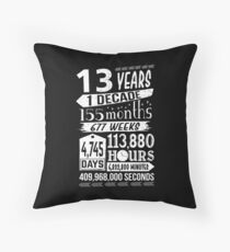 Funny 13th Birthday 13 Year Old Teen Sign Gag Gift Throw Pillow
