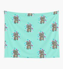 Teddy Bear Holding Butterfly Wall Tapestry