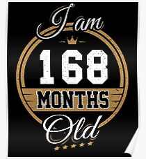 Funny Vintage 14th Birthday I'm 168 Months Old Gift Poster