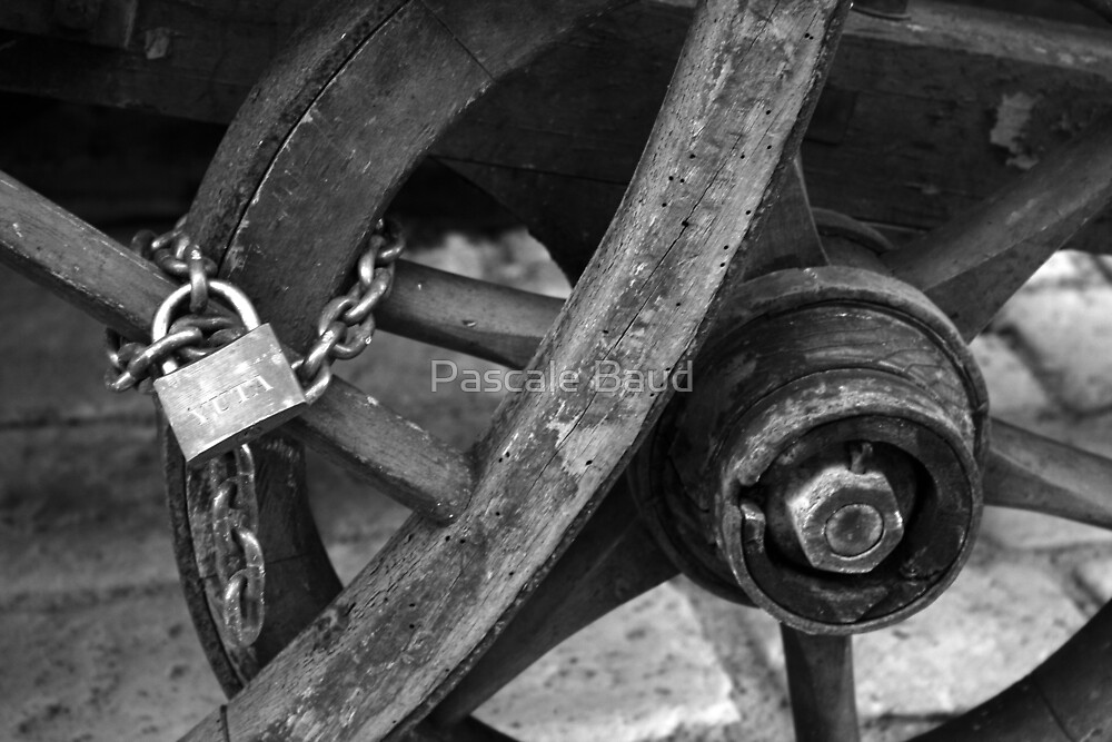 Wheel and padlock by Pascale Baud