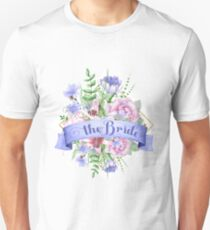 Colorful Flowers Bouquet The Bride Modern Typography T-Shirt