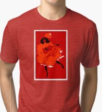 Lady in red playing guitar 031 Tri-blend T-Shirt