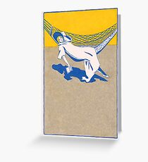 Lady lying on hammock with a book 032 Greeting Card