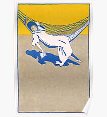 Lady lying on hammock with a book 032 Poster