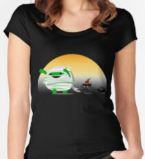 Halloween - Sunset Mochi & Friends Mummy, Cat and Bat Women's Fitted Scoop T-Shirt