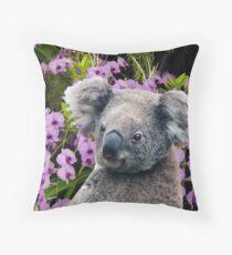 Koala and Orchids Throw Pillow