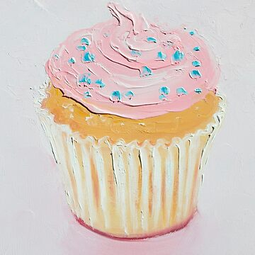 Vanilla Cupcake with strawberry frosting by MatsonArtDesign
