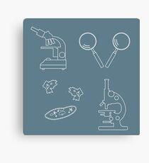 Stylized icons of microscopes, magnifiers, amoeba, ciliate-slipper. Laboratory equipment symbol.  Canvas Print